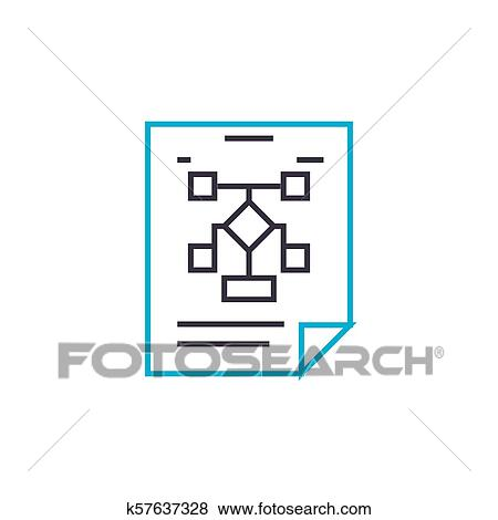 Managment Estructura Lineal Icono Concept Managment