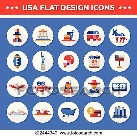 Clip Art Of Set Of Flat Design Usa Travel Icons Infographics