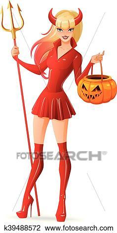 Immagine Zucca Di Halloween 94.Sexy Donna In Halloween Costume Diavolo Con Jack O Lantern Zucca Basket Isolato Vettore Illustration Clipart
