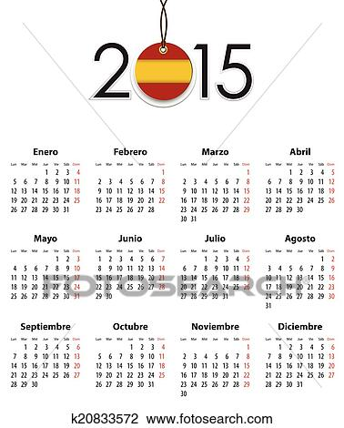 Calendario Spagnolo.Spagnolo Calendario Griglia Per 2015 Con Bandiera Come Etichetta Clipart