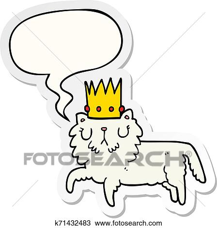 Cartoon Cat Wearing Crown And Speech Bubble Sticker Clipart K71432483 Fotosearch Cat heads with flower crown. fotosearch