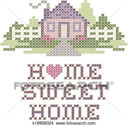 Clipart Of Embroidery Home Sweet Home K18908324 Search Clip Art