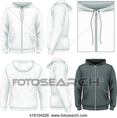 Clip Art Of Mens Zip Hoodie Design Template K16104226