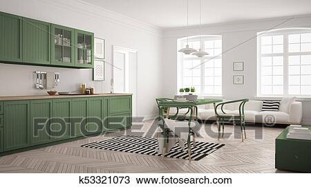Minimalista, moderno, cocina, con, cenar mesa, y, sala, blanco, y, mirto,  verde, escandinavo, diseño de interiores Dibujo