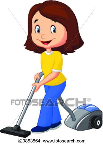 Mom cartoon with vacuum cleaner Clipart | k20853564 ...