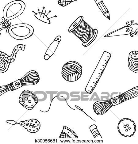 Clipart - nähen, hand, gezeichnet, vektor, muster k30956681 - Suche ...