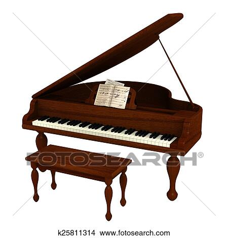 Dessins piano queue k25811314 recherche de clip arts - Coloriage piano ...