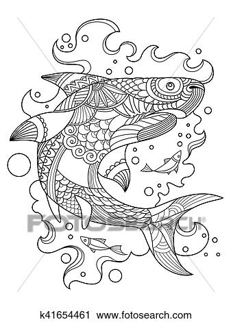 Clipart of Shark coloring book for adults vector k41654461 - Search ...