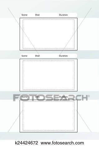 Clipart of storyboard template vertical x3 notes space k24424672 ...