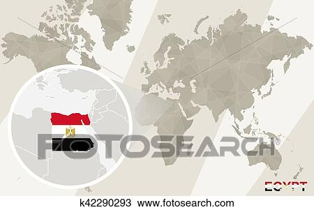 Zoom on Egypt Map and Flag. World Map. Clipart