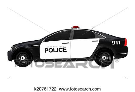 Carro Policia Vista Lateral Desenho K20761722 Fotosearch