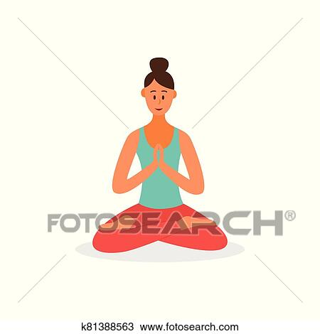 cartoon woman in lotus yoga pose isolated on white