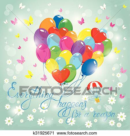 Image With Colorful Balloons In Heart Shape On Sky Blue