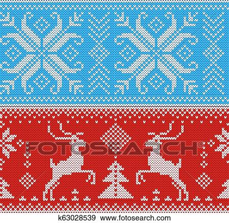 Christmas Ornament Background.Knitting Pattern Vector Knit Wool Texture Background Traditional Knitted Winter Sweater Christmas Ornament Illustration Seamless Set Of Handknitting