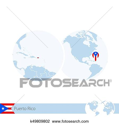 Puerto Rico on world globe with flag and regional map of Puerto Rico.  Clipart