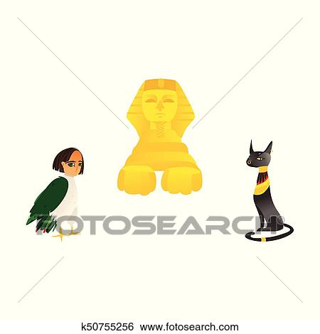 Clip Art Of Sphinx Harpy And Black Cat Symbols Of Egypt K50755256