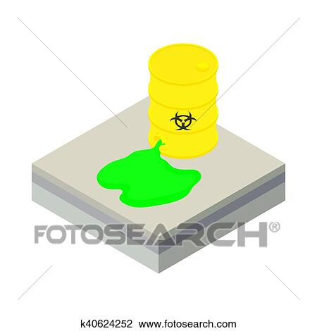 Toxic waste spilling from barrel icon Drawing | k40624252 ...