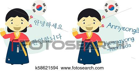 Vector Illustration Of Cartoon Characters Saying Hello And Welcome In Korean And Its Transliteration Into Latin Alphabet Clipart K58621594 Fotosearch