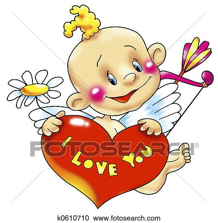 Stock Illustrations Of Cupid With Heart K0610710 Search Clipart