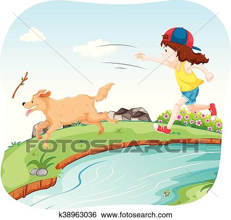 Girl playing with dog in the park Clip Art   k38963036 ...