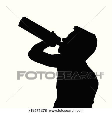 Clip Art Jugendlicher Junge Silhouette Trinken Alkohol Von