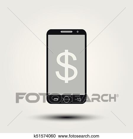 Clipart Of Make Money Online With Smartphone Concept Flat Stylish