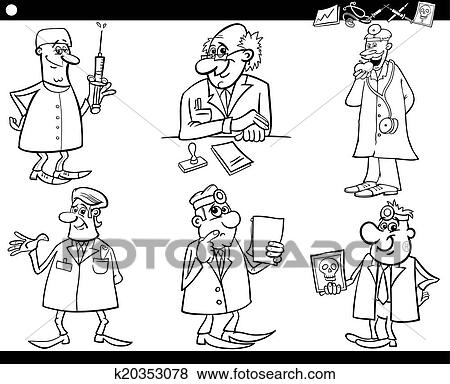 Clip Art of medical staff set coloring book k20353078 - Search ...