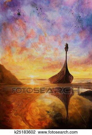 Clipart - peinture huile, sur, toile, de, a, petit bateau, reposer ...