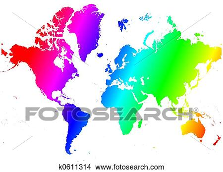 Drawings Of Rainbow World Map K0611314 Search Clip Art
