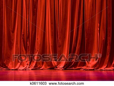 Red Velvet Stage Curtains Stock Image K0611603 Fotosearch