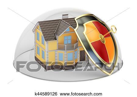 Archivio illustrazioni sicurezza casa e protezione concetto