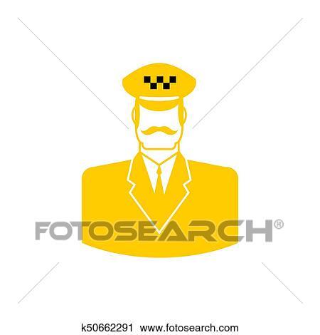 Taxi Driver Icon Cabbie Sign Cabdriver Symbol Vector