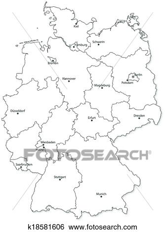States Map Of Germany.Clip Art Of Vector Map Of German States On White Background
