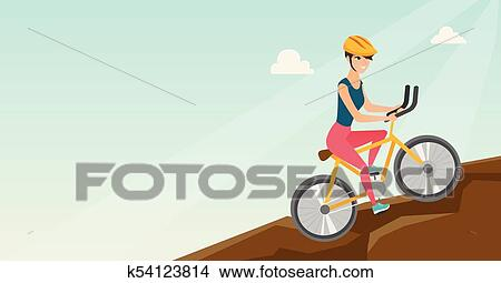 Young Woman On Bicycle Traveling In The Mountains Clipart