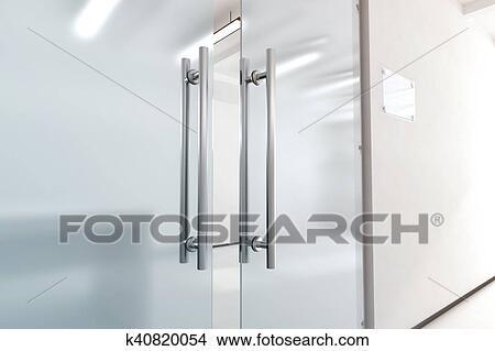 Dibujos blanco puerta de vidrio con metal manijas for Manijas para puertas de vidrio