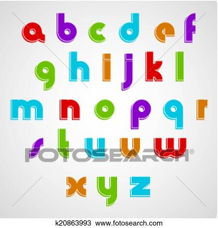 Colorful Cartoon Smooth Font Rounded Lowercase Letters With Whi Clipart