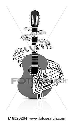 Hudba Zaregistrovat S Kytara Hrac Kresby K18520264