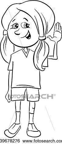 Clip Art Jugendliches Mädchen Ausmalbilder K39678276 Suche