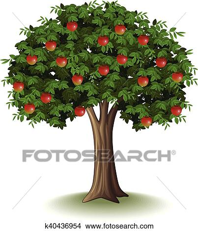 Red Apple On Apple Tree Clipart K40436954 Fotosearch
