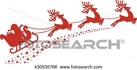 clip art of santa sleigh reindeer red silhouette k30535766 search