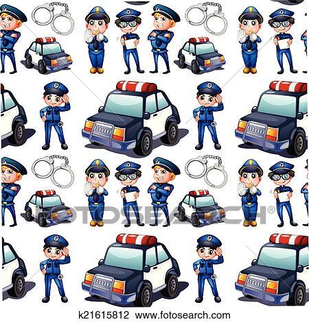 Seamless Desenho Com Policiais E Patrulha Carros Clipart