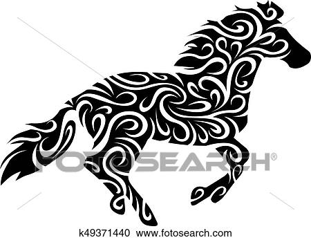 40174f858dc Tribal horse Clipart | k49371440 | Fotosearch