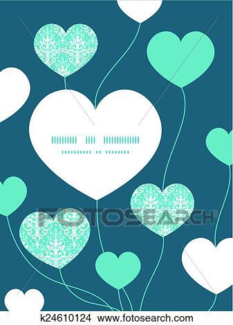 clipart of vector light blue swirls damask heart symbol frame