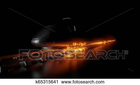 Abstract composition of night high-speed train Clip Art