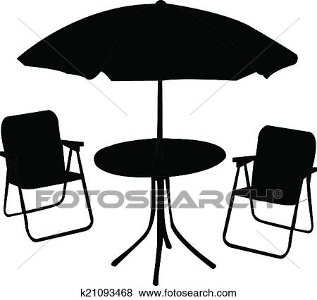 Clip Art Beach Chair Table And Umbrella Fotosearch