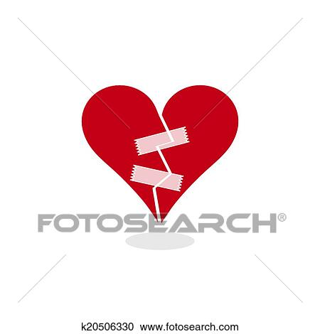 Clipart Of Broken Heart Fixed With Adhesive Tape Concept
