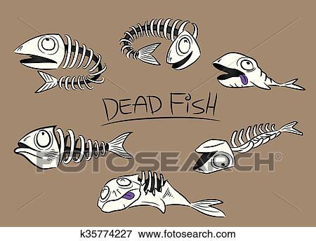 Cartoon Dead Fish Leftovers Bones Illustration