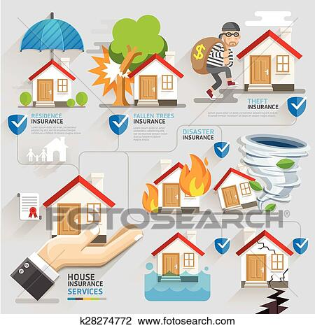 Clipart Of House Insurance Business Service Icons Template Vector