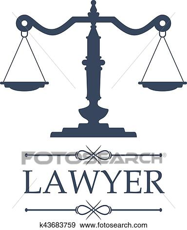 clip art of lawyer icon of justice scales vector emblem