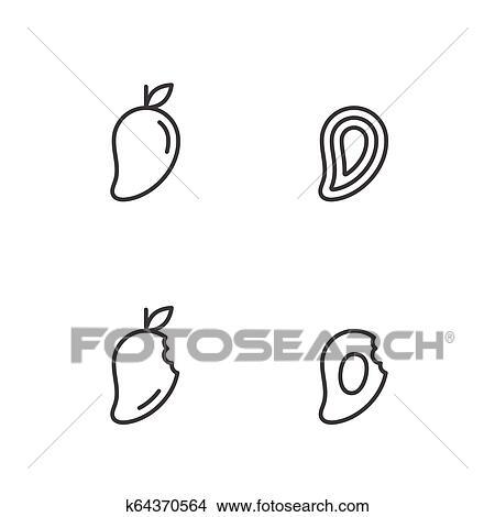 Mango fruit icons outline stroke set design illustration black and white  color isolated on white background, vector eps10 Clipart